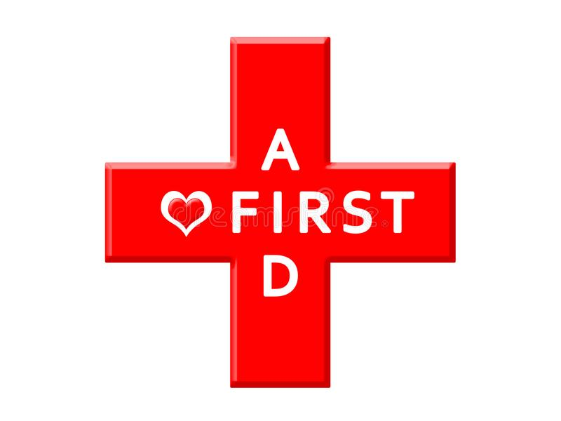 Medical cross icon, words First aid and heart symbol vector illustration