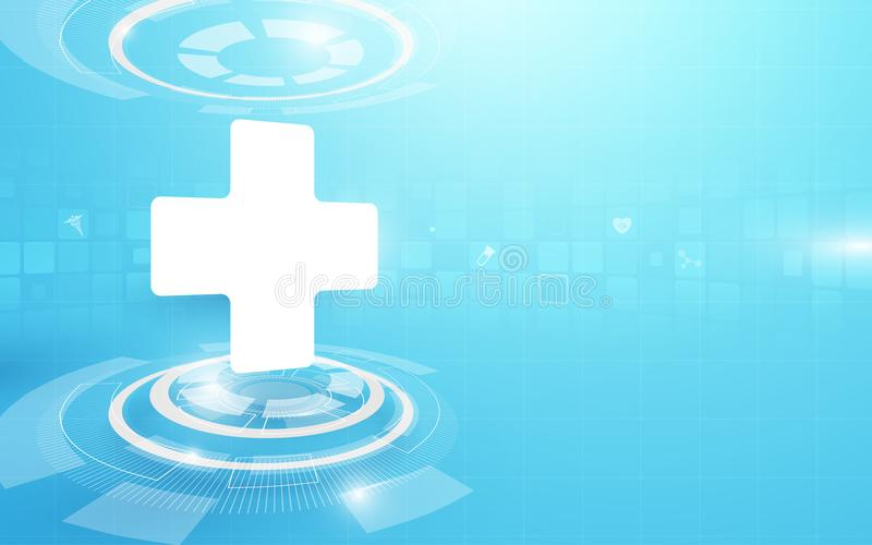 Medical cross and technology digital hi tech concept background royalty free illustration