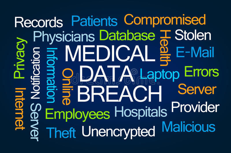 Medical Data Breach Word Cloud. On blue background royalty free stock image