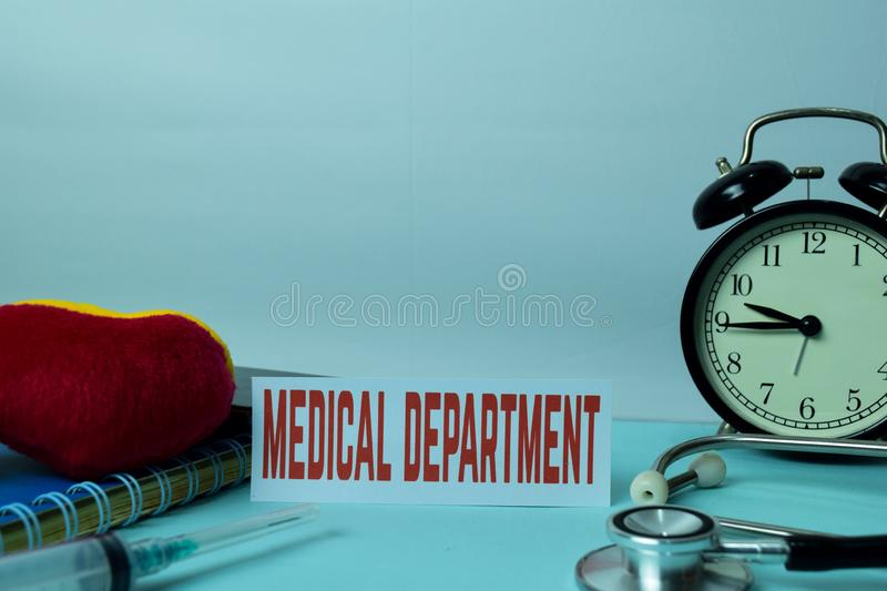 Medical Department Planning on Background of Working Table with Office Supplies. Medical and Healthcare Concept Planning on White. Background stock photo