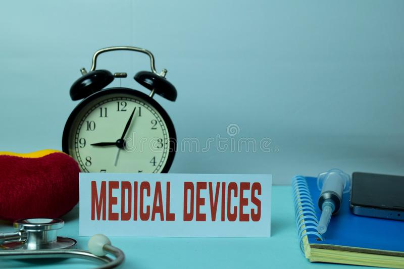 Medical Devices Planning on Background of Working Table with Office Supplies. Medical and Healthcare Concept Planning on White Background stock image