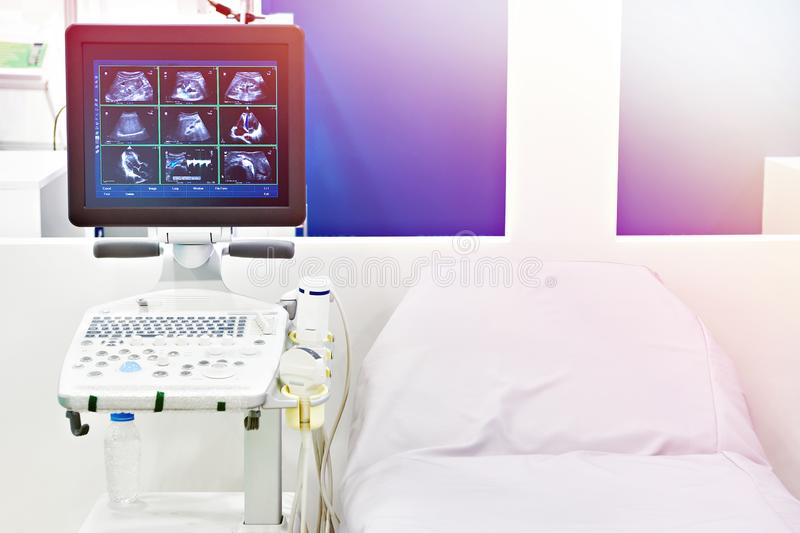 Medical devices for ultrasound and bed. Medical devices for ultrasound examination and bed stock images