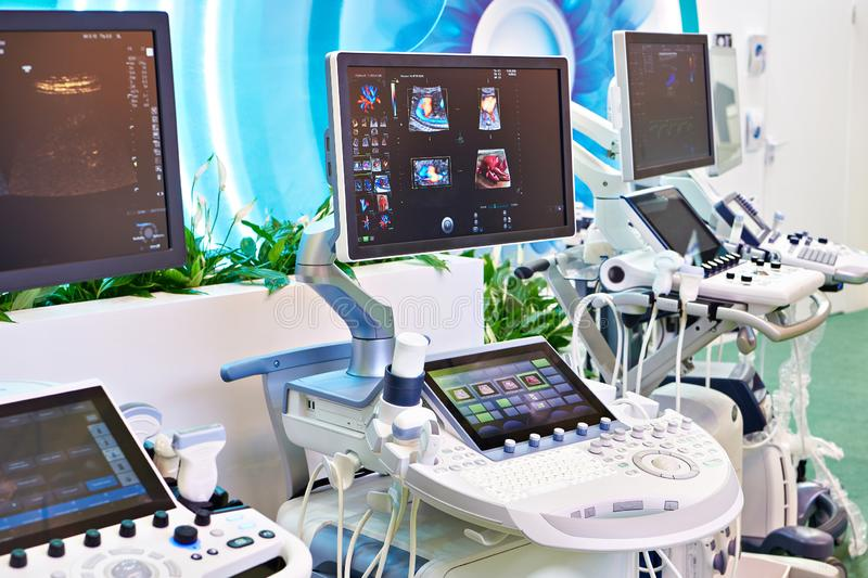 Medical ultrasound devices on exhibition. Medical devices for ultrasound examination on exhibition stock images