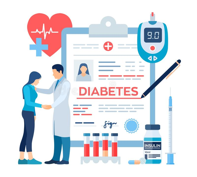 Medical diagnosis - Diabetes. Diabetes mellitus type 2 and insulin production concept. Doctor taking care of patient. Blood vector illustration