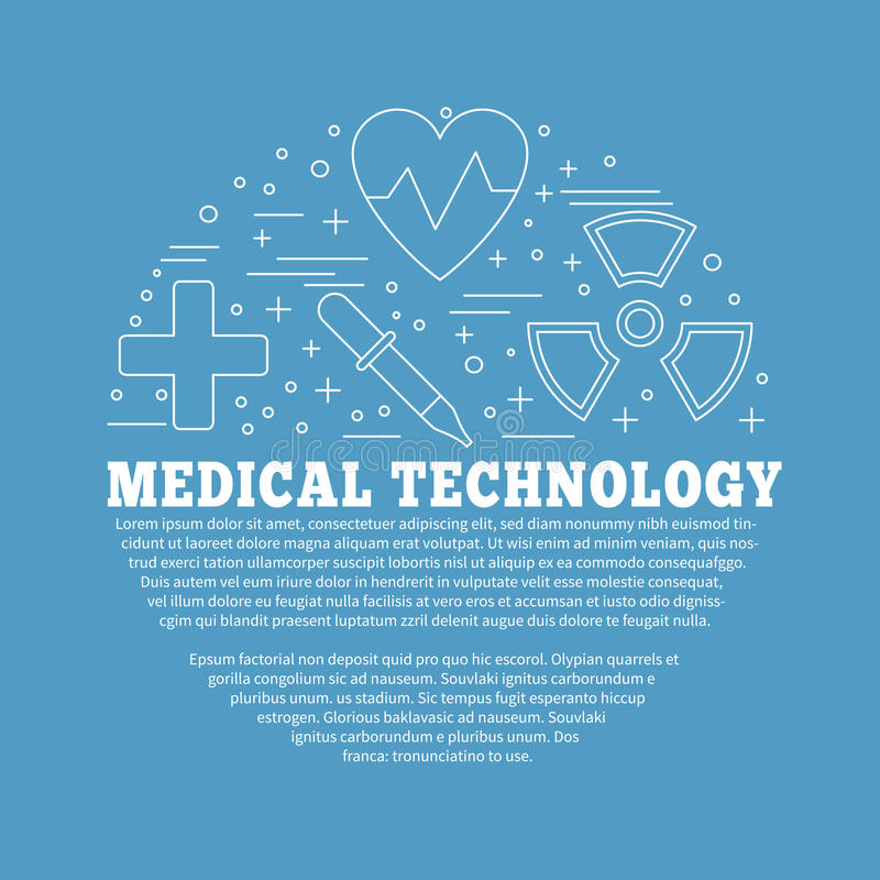 Medical diagnostic, checkup graphic design concept. Poster, flyer with medical symbols and objects on color background. Medical checkup, diagnostic, research royalty free illustration