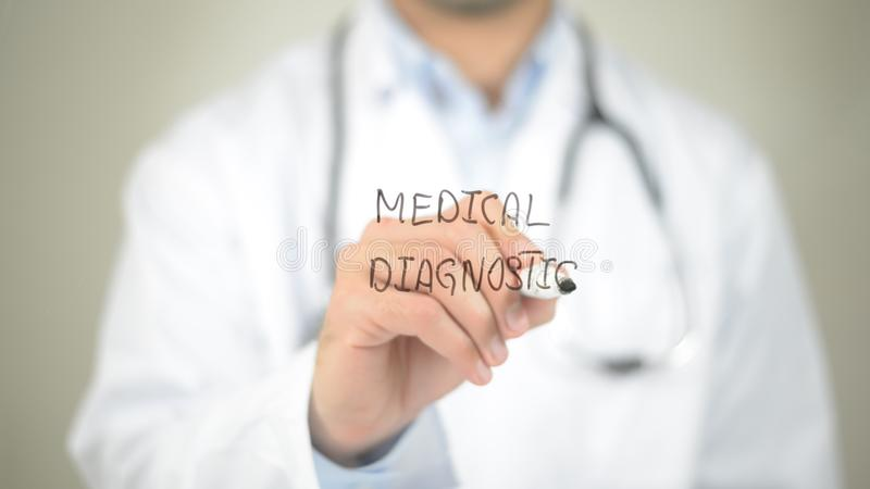 Medical Diagnostic, Doctor writing on transparent screen. High quality stock image
