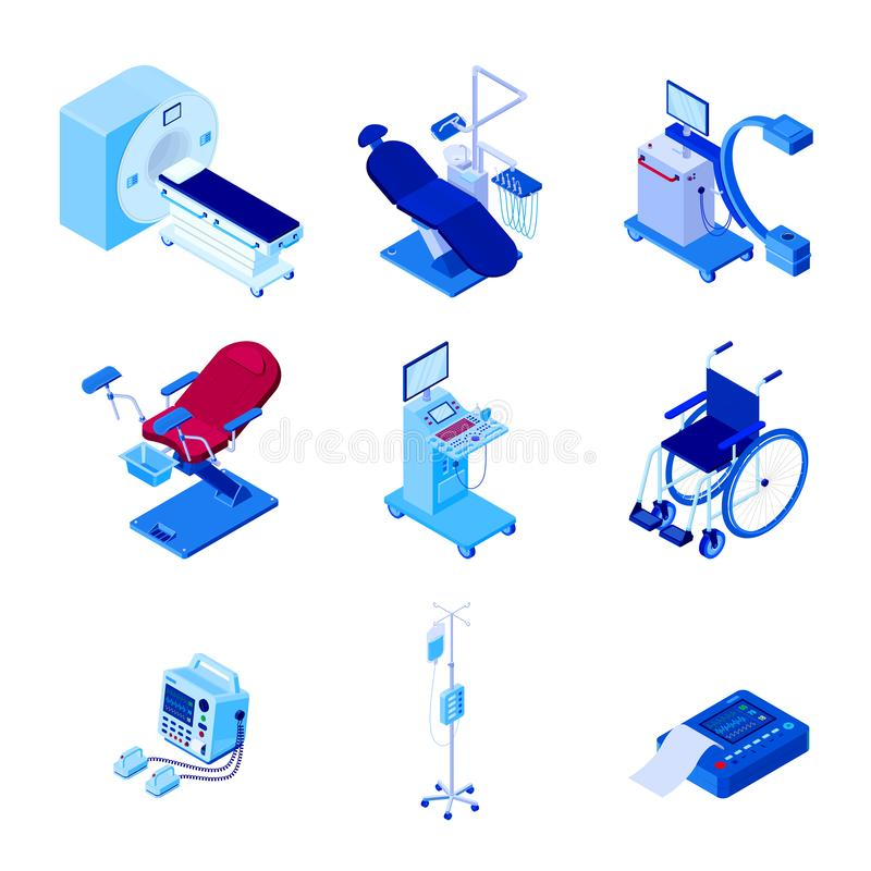 Medical diagnostic examination equipment. Vector 3d isometric illustration royalty free illustration