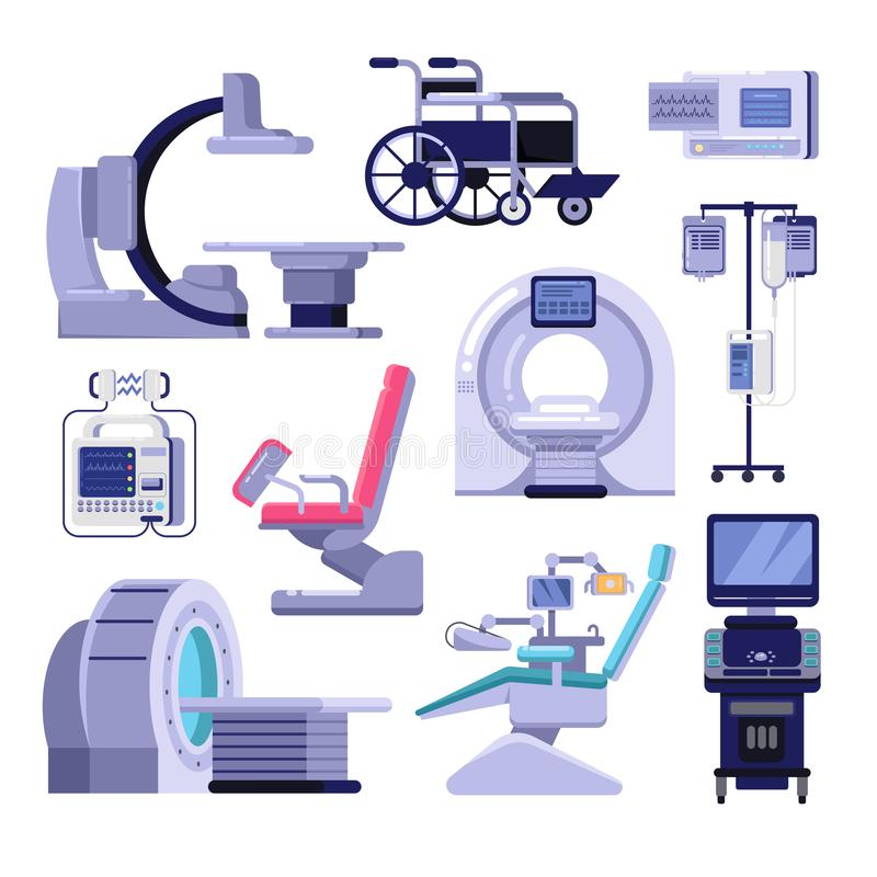 Medical diagnostic examination equipment. Vector illustration of MRI, gynecology and dentist chair, ultrasound machine. royalty free illustration