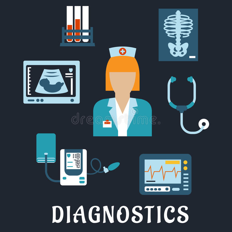 Medical diagnostic procedures flat icons. With doctor, surrounded by stethoscope, chest x-ray, blood test tubes, ecg and ultrasound monitors, blood pressure stock illustration