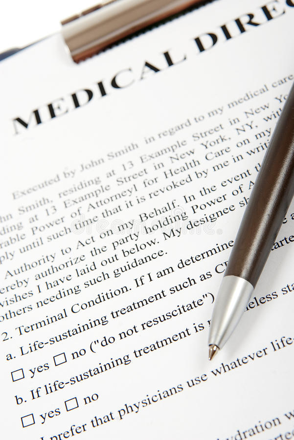 Medical directive stock photography