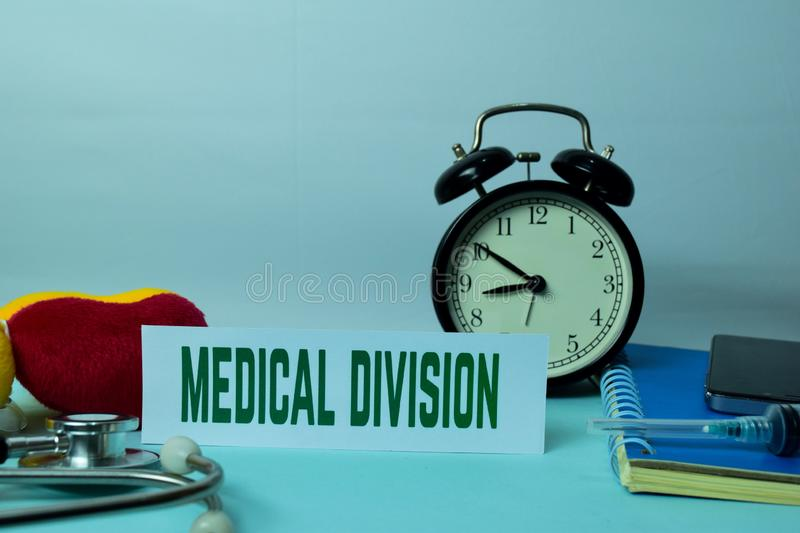 Medical Division Planning on Background of Working Table with Office Supplies. Medical and Healthcare Concept Planning on White Background stock photo