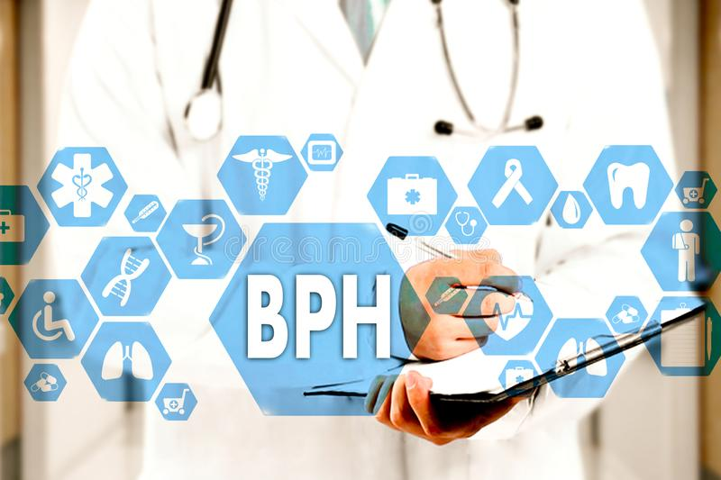 Medical Doctor  and BPH, Benign Prostatic Hyperplasia words in Medical network connection on the virtual screen on hospital royalty free stock images