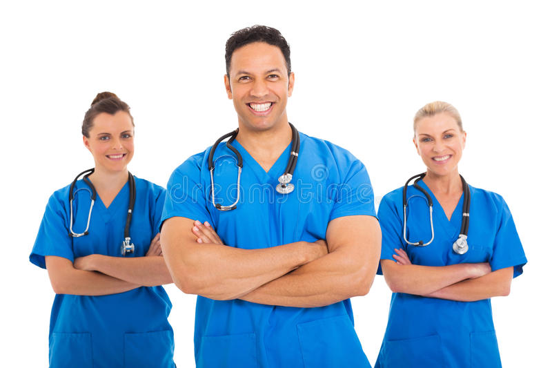 Medical doctor colleagues. Portrait of handsome mid age medical doctor with colleagues stock photos