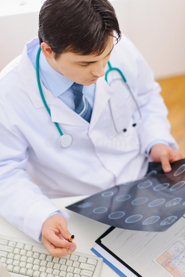 Download Medical Doctor Examine Mri. Top View Stock Photo - Image: 24032394
