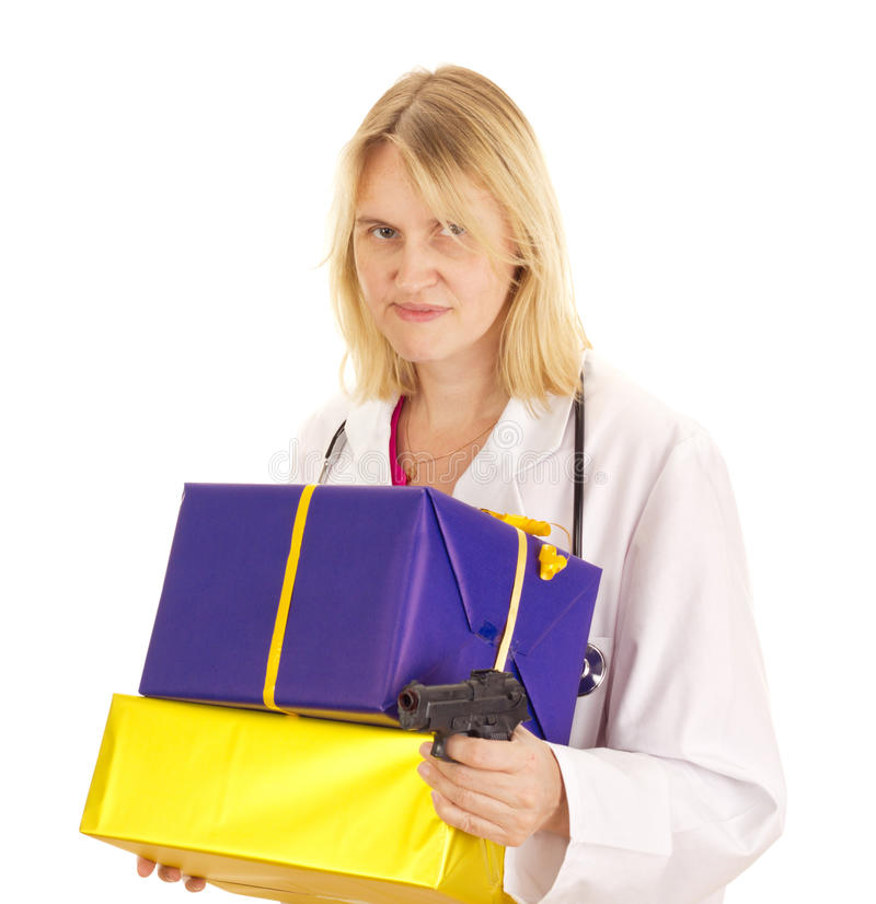 Medical doctor with gifts royalty free stock image