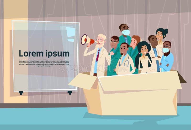Medical Doctor Hold Megaphone Loudspeaker Group Team White Chat Bubble Copy Space. Vector Illustration vector illustration