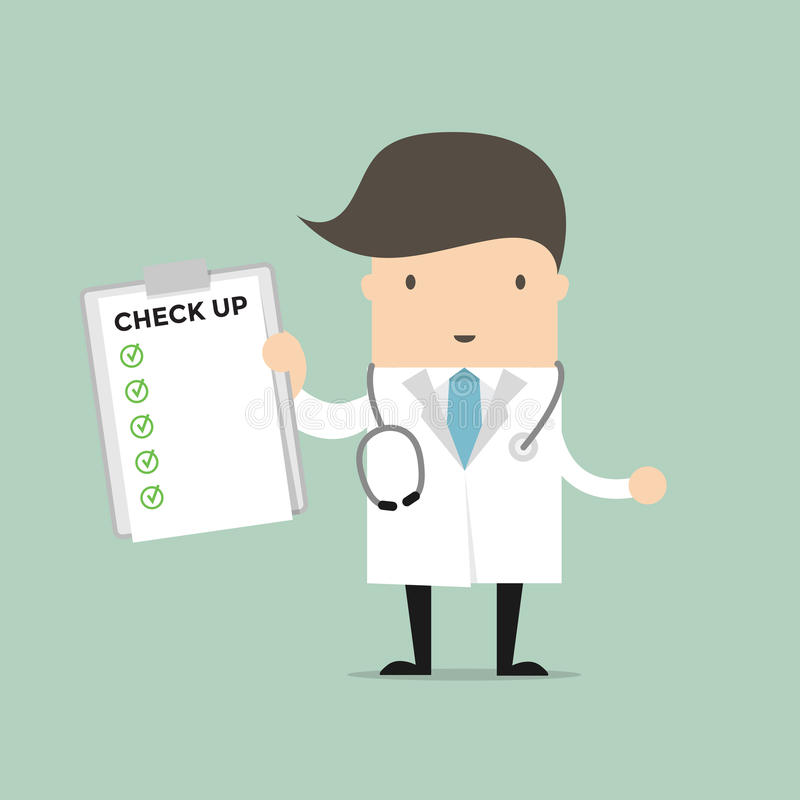 Medical Doctor Holding Check Up Report Document. stock illustration