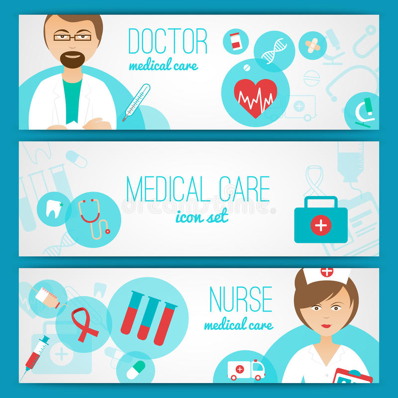 Medical. Doctor and nurse with first aid kit and healthcare symbols icons banners set abstract vector illustration stock illustration