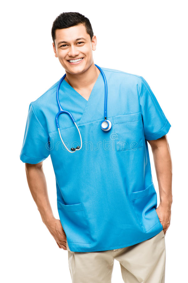 Medical doctor nurse. Happy young Latin American medical nurse smiling royalty free stock images