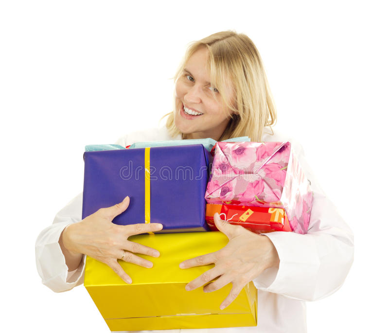 Medical doctor with some gifts royalty free stock photo