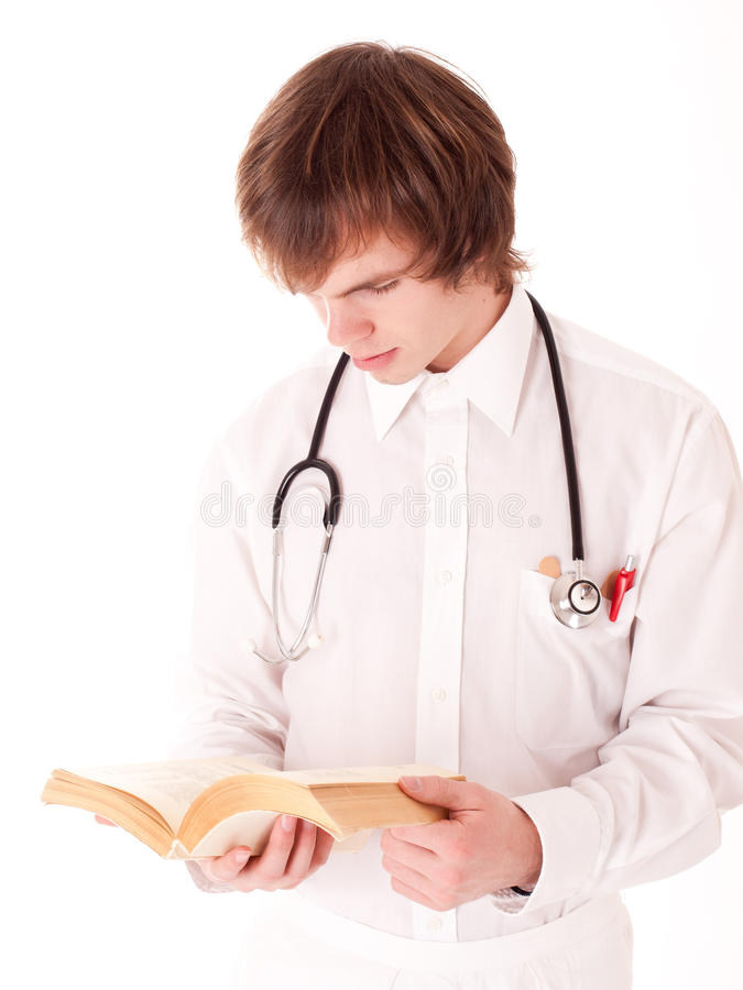 Medical doctor with stethoscope. stock photo