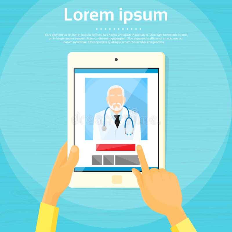 Medical Doctor Tablet Computer Application Flat royalty free illustration