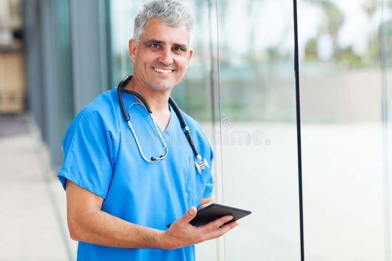 Medical doctor tablet stock image
