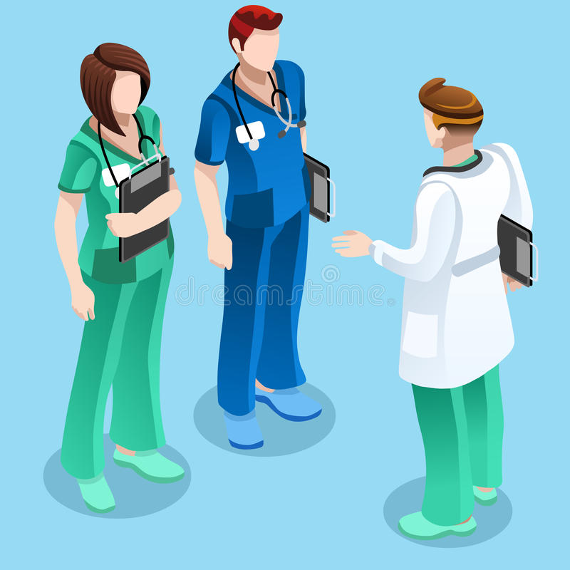 Medical Doctor Talking with Two Nurses Vector Isometric People. Clinic nurse education training meeting situation with group of doctor and nurses talking stock illustration
