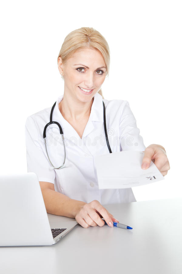 Download Medical Doctor Woman Giving Out Prescription Stock Photo - Image: 23081732