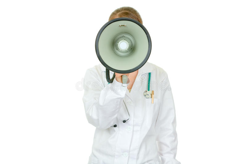 Medical doctor woman speaking into megaphone royalty free stock photos