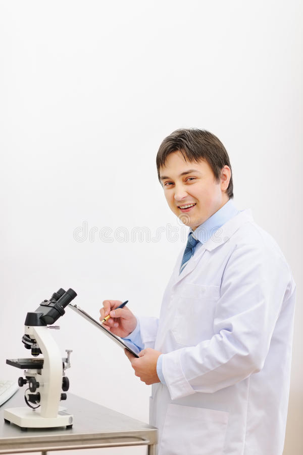Medical doctor working in laboratory stock images