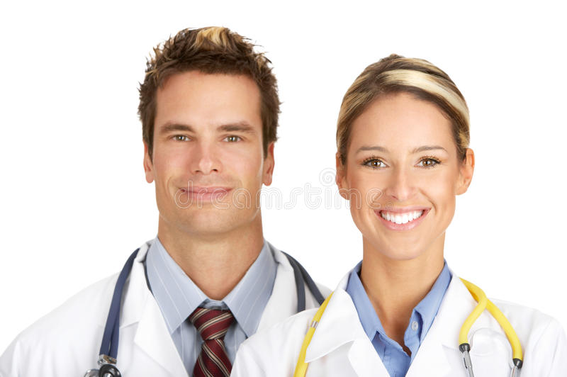 Medical doctors. Smiling medical doctors with stethoscopes. Isolated over white background