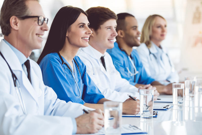 Medical doctors at the conference stock image