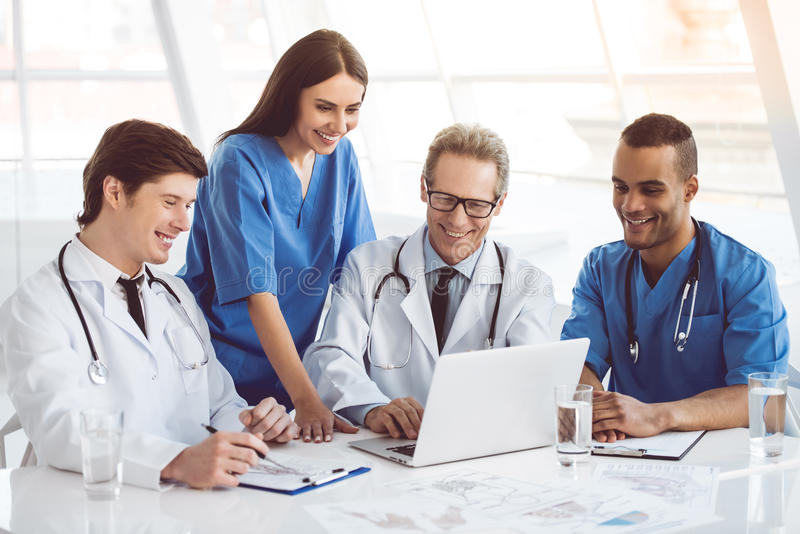 Medical doctors at the conference stock images