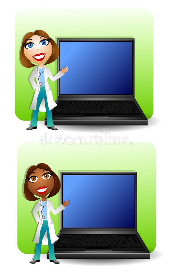 Medical Doctors With Laptops. An illustration featuring your choice of 2 backgrounds featuring smiling happy doctors wearing stethoscopes standing beside laptop vector illustration