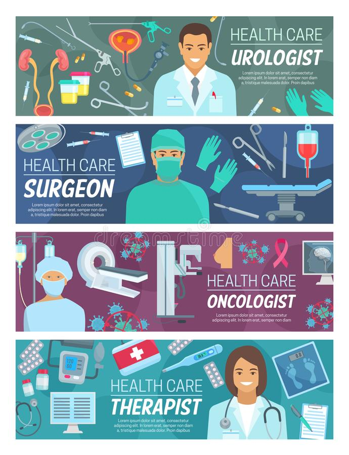 Medical doctors of surgery, urology and oncology. Doctors medical staff banners of medicine and healthcare vector theme. Surgeon, urologist, oncologist and royalty free illustration