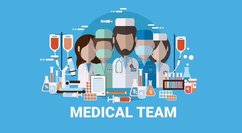 Medical Doctors Team Clinic Or Hospital Workers stock illustration