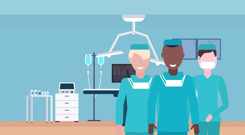 Medical doctors team in uniform standing together hospital operating table modern clinic surgery operation room interior. Mix race workers portrait flat stock illustration