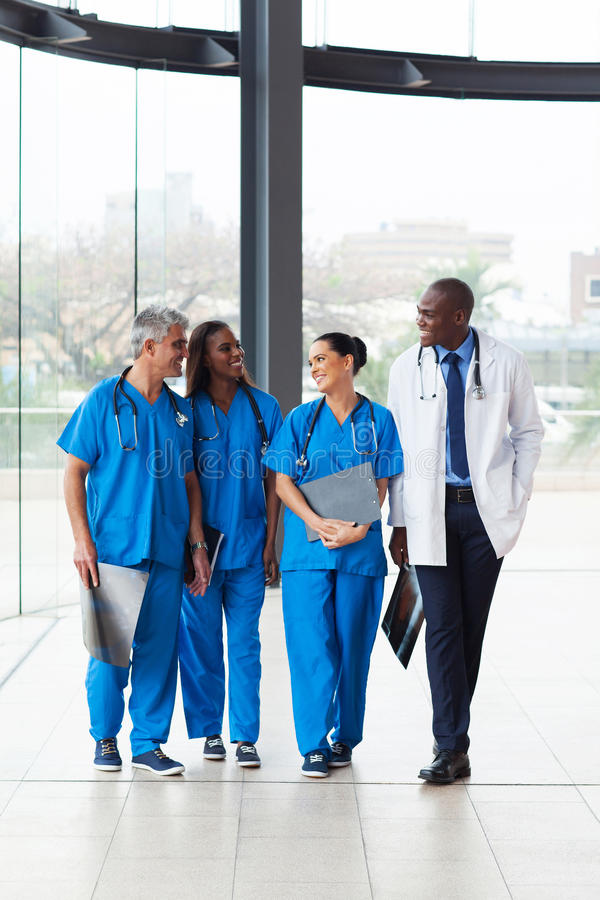 Medical doctors walking stock photo