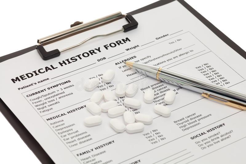 Medical document with pills royalty free stock photos