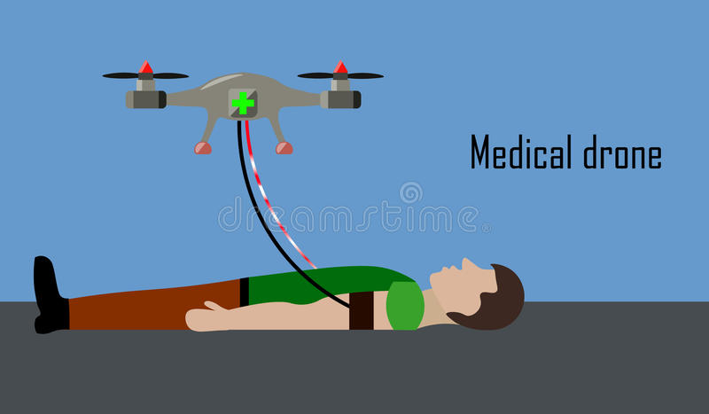 Medical drone helps sick man stock photos