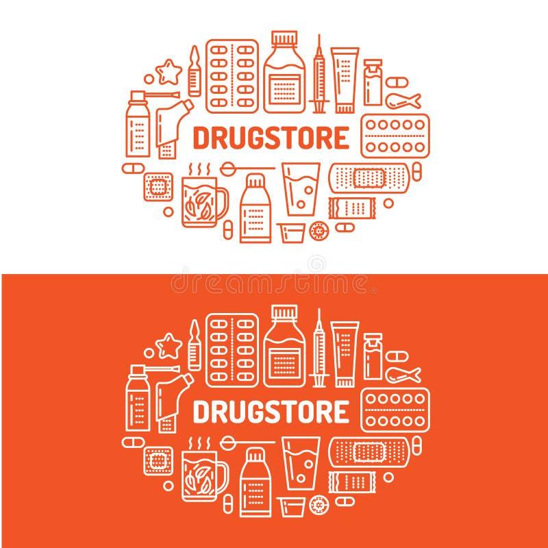 Medical, drugstore banner illustration. Pharmacy vector line icons tablet, capsules, pills, antibiotics vitamins and stock illustration