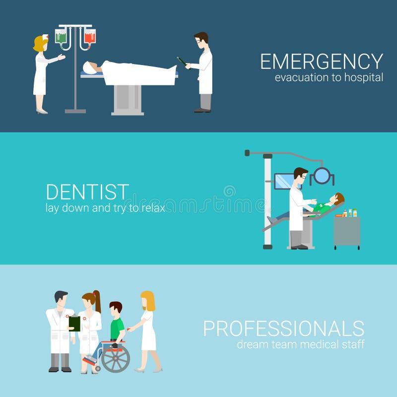 Medical elements staff patients flat concept vector illustration royalty free illustration