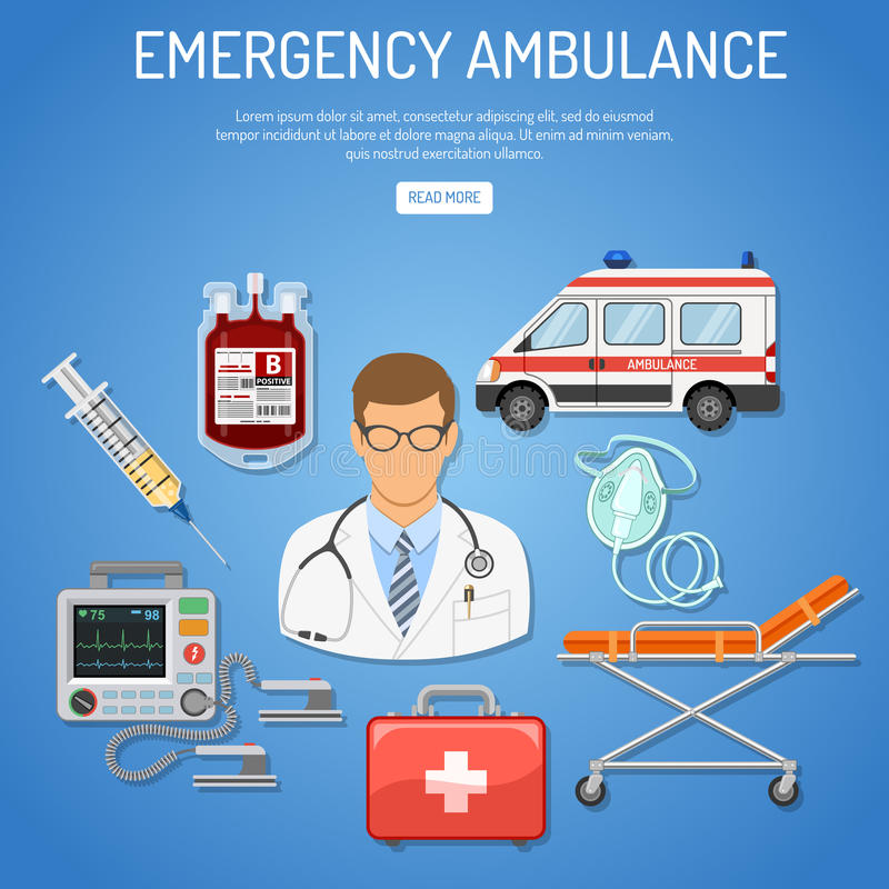 Medical emergency ambulance concept. With flat icons doctor, blood container, defibrillator, stretcher. vector illustration royalty free illustration