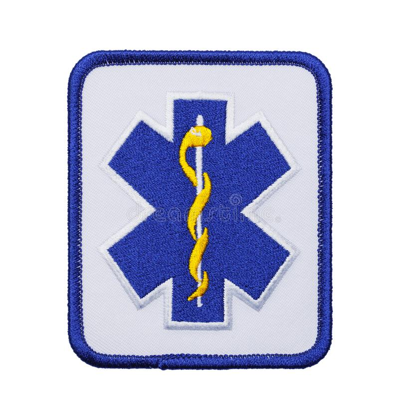 Medical EMT Patch. Blue EMT Paramedic Patch Isolated on White Background stock photo