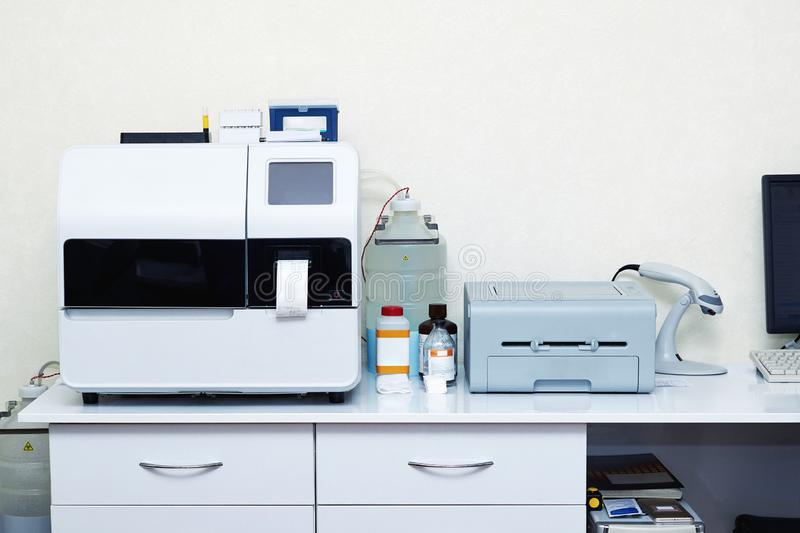 Medical equipment for automatic biochemical analysis. Of blood and serum royalty free stock images