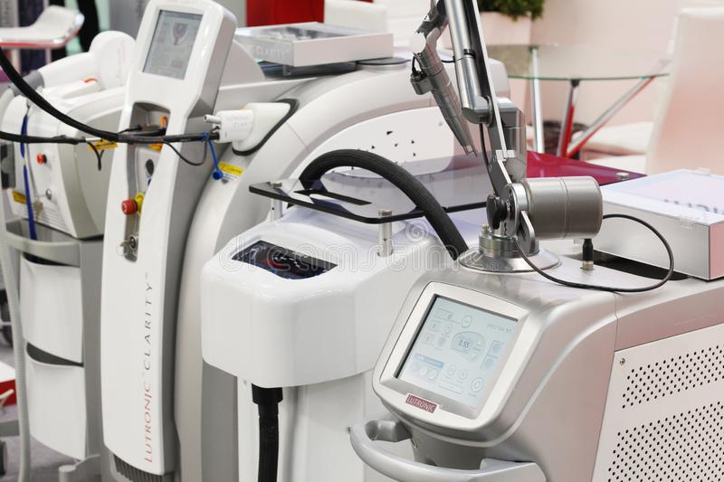 Medical equipment and equipment for beauty salons. Moscow, RF, 19.04.2019. Medical equipment and equipment for beauty salons. Laser systems and devices for stock photography