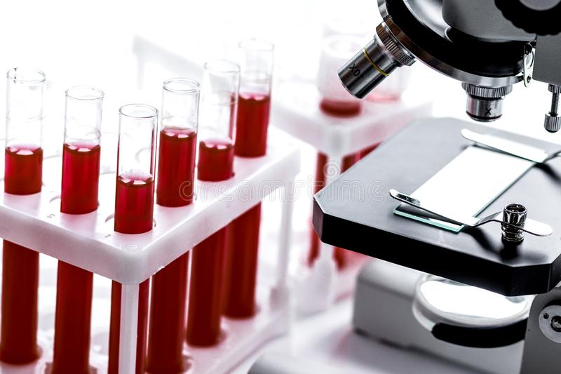 Medical equipment blood test in laboratory no one. On white background stock photos