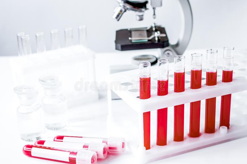 Medical equipment blood test in laboratory no one. On white background stock photo