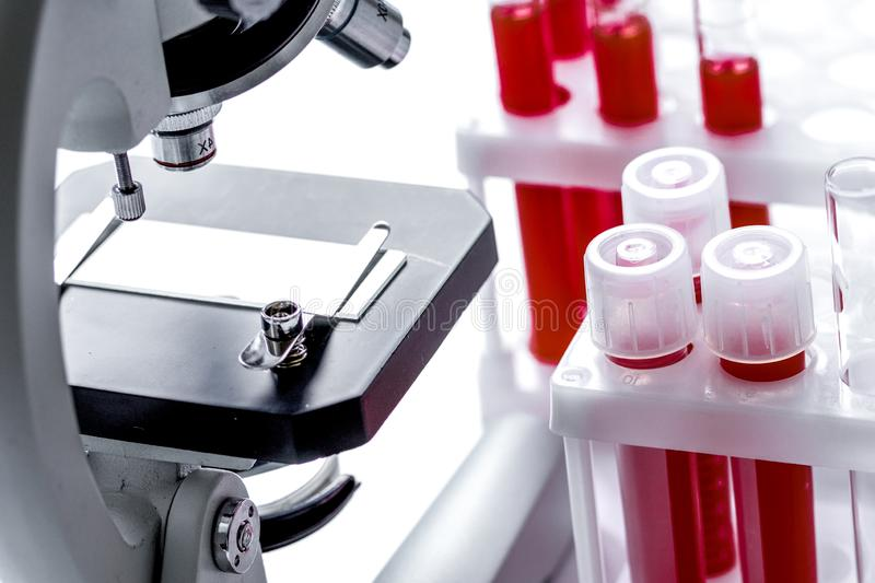 Medical equipment blood test in laboratory no one. On white background stock images